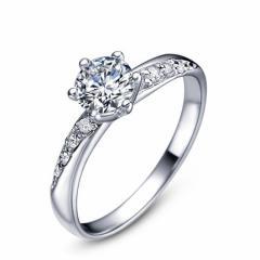 結婚 婚約 指輪 誕生日 プレゼント diamond輝きリング S925 Pt18k3度コーティング Silver プラチナ仕上指輪 シルバーリング