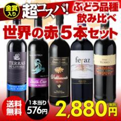 ワインセット 赤5本 世界のぶどう品種飲み比べ 超コスパ赤ワインセット 5弾 【送料無料】[ワインセット][長S]