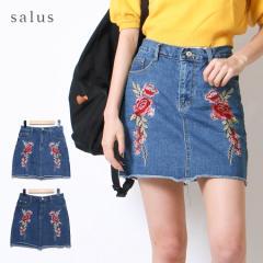 花柄刺繍デニムミニスカート