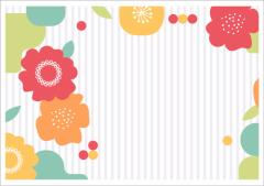 ペーパー・ランチョンマット『Flower Stripe』 10枚入 (B4版)  LUN-030