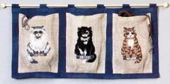 OOE クロスステッチ刺繍キット 02005 猫柄 のれん タペストリー 【取り寄せ/納期40〜80日程度】