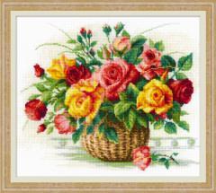 RIOLISクロスステッチ刺繍キット No.1722  「Basket With Roses」 (バラのバスケット) 【海外取り寄せ/納期1〜2ヶ月】