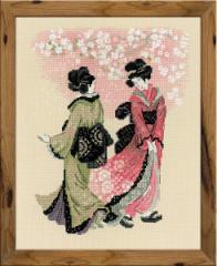 RIOLISクロスステッチ刺繍キット No.1508 「Cherry Blossom」 (桜の花 浮世絵) 【海外取り寄せ/納期30〜60日】