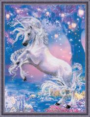 RIOLISクロスステッチ刺繍キット No.0024PT 「Unicorn」 (ユニコーン 一角獣) 【プリント済みキット】 【取り寄せ/納期1〜2ヶ月】