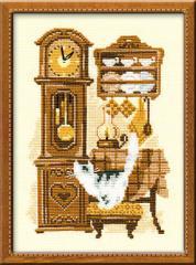 RIOLISクロスステッチ刺繍キット No.858 「Cat with Clock」 (柱時計と猫 ネコ)