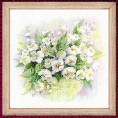 RIOLISクロスステッチ刺繍キット No.1467「Watercolour Jasmine」 (白いジャスミン)