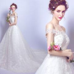 3ea1138165af4 新品人気 レースウエディングドレス オフショルダー 花嫁二次会トレーンドレス ロングドレス結婚式 披露宴