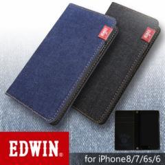 iPhone8 ケース 手帳型 iPhone7 iPhone6s iPhone6 兼用 ブランド EDWIN エドウィン タグデニム シンプル アイフォンケース