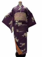 翌日発送可能 家でも簡単に洗える  リョウコキクチ RK 洗える着物(袷)小紋 紫地 扇子 梅 柄no3024