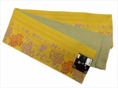 半幅帯 半巾 細帯 浴衣帯 四寸帯 リバーシブル四寸帯 日本製 カラシ地 菊 柄 no2957
