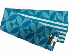 半幅帯 半巾 細帯 浴衣帯 四寸帯 リバーシブル四寸帯 日本製 ブルー地 七宝 柄 no3030