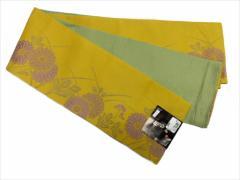 半幅帯 半巾 細帯 浴衣帯 四寸帯 リバーシブル四寸帯 日本製 カラシ地 牡丹菊 柄 no3028