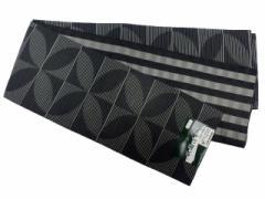 半幅帯 半巾 細帯 浴衣帯 四寸帯 リバーシブル四寸帯 日本製 黒地 七宝 柄 no3032