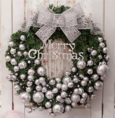2枚で送料無料クリスマスリース/ドア飾りリボン/クリスマス飾り /玄関飾り/おしゃれ/50cm 壁掛け/店舗用/法人用 christmas 装飾 3色