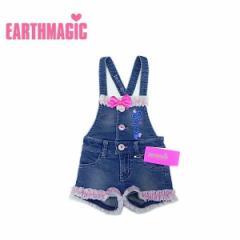 EARTHMAGIC アースマジック 子供服 18初春 チュール&リボンデニムサロペット ea38152117