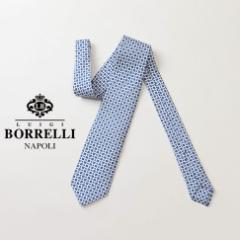 LUIGI BORRELLI ルイジ ボレッリ ネクタイ ホワイト 花柄(ブルー) シルク100%