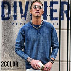 トレーナー メンズ デニム スウェットデニム カットデニム 無地 大きいサイズ ネイビー ブルー インディゴ DIVINER ディバイナー trend_d