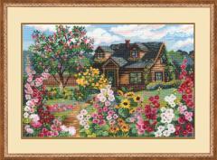 RIOLISクロスステッチ刺繍キット No.978 「Flowering Garden」 (花いっぱいのお庭)