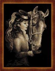 RIOLISクロスステッチ刺繍キット No.1238 「Amazon」 (アマゾン 馬と女性)