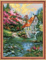 RIOLISクロスステッチ刺繍キット No.1394 「Water Mill」 (水車)