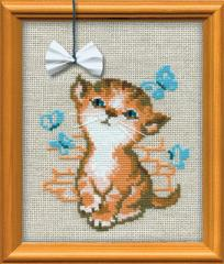 RIOLISクロスステッチ刺繍キット No.671 「Kitty with a Bow」 (子猫と蝶結び)