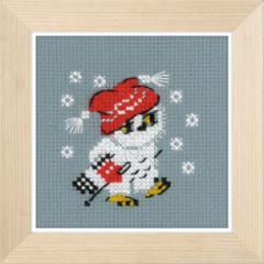 RIOLISクロスステッチ刺繍キット No.1667 「Snow」 (雪 フクロウ) 【取り寄せ/納期1〜2ヶ月】