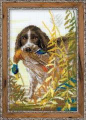 RIOLISクロスステッチ刺繍キット No.1151 「Hunting. Spaniel」 (狩猟犬 スパニエル) 【海外取り寄せ/納期30〜60日程度】