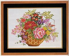 東京文化刺繍キット No.511  「四季花かご」(四季盛花) 【12号】 【花・植物】