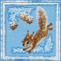RIOLISクロスステッチ刺繍キット No.799 「Small Squirrel」 (小リスのクリスマス Christmas  Xmas)