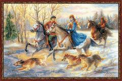 RIOLISクロスステッチ刺繍キット No.1639 「Russian Hunting」 (ロシアン・ハンティング) 【海外取り寄せ/納期1〜2ヶ月】