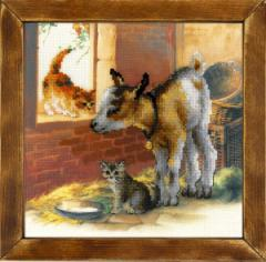 RIOLISクロスステッチ刺繍キット No.0053 PT 「Goatling and Kittens」 (山羊と猫 ヤギとネコ) 【プリント済みキット】 【取り寄せ/納期1