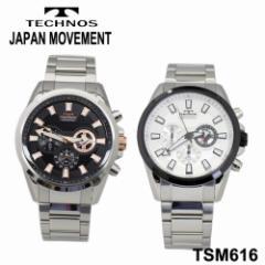 【TECHNOS】テクノス クロノグラフ メンズウォッチ TSM616 ブラック