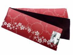 半幅帯 半巾 細帯 浴衣帯 四寸帯 リバーシブル四寸帯 日本製 赤地 ボカシ 雪輪 桜 柄 no3041
