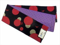 半幅帯 半巾 細帯 浴衣帯 四寸帯 リバーシブル四寸帯 日本製 黒地 水玉 うさぎ 柄 no3011