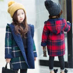 【送料無料】韓国子供服 ダッフルコート キッズ 女の子 ダッフルコート ロング 子供服 フード付きコート チェック柄 チェック
