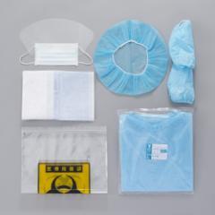 竹虎 ケモセット(スタンダード)10セット 抗がん剤曝露対策 マスク キャップ シューカバー マット 袋 ガウンのセット