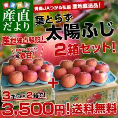 送料無料 青森県 JAつがる弘前 葉とらず太陽ふじりんご 糖度13度以上 約3キロ×2箱(9から13玉×2箱) 産直だより