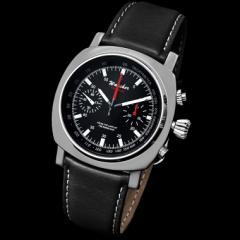 機械式パイロット腕時計 WANCHER ワンチャー「Fortitude」軍用 精密クロノグラフ 革ベルト ブラック(黒) ステンレス316L