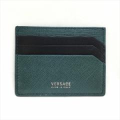 VERSACE ヴェルサーチ メンズ レザー クレジット カード ホルダー DPN5987 グリーンxブラック