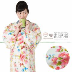 ロング丈 割烹着「フラワー」エプロン 日本製 かわいい 着物用割烹着 オシャレ