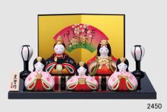 陶製の雛人形【錦彩華みやび雛(五人平飾り)】 お孫さん、お子さんへ