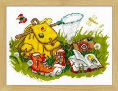 RIOLISクロスステッチ刺繍キット No.1718 「Holiday on Grass」 (野原の休日) 【海外取り寄せ/納期30〜60日程度】