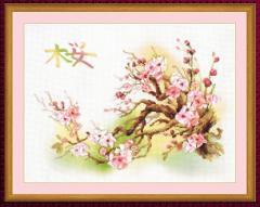 RIOLISクロスステッチ刺繍キット No.0029 PT 「Branch of Sakura」 (桜の枝 サクラ) 【プリント済みキット】 【取り寄せ/納期1〜2ヶ月】