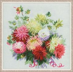RIOLISクロスステッチ刺繍キット No.1384 「Dahlias」 (ダリア ダーリア)