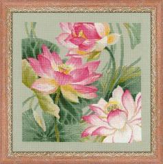 RIOLISクロスステッチ刺繍キット No.1309 「Lotuses」 (ハス 蓮) ロシアの刺しゅうメーカー「リオリス」製ししゅうキット