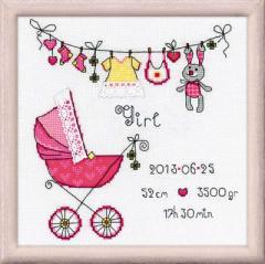 RIOLISクロスステッチ刺繍キット No.1417 「Its a Girl」 ロシアの刺しゅうメーカー「リオリス」製ししゅうキット お誕生祝いに