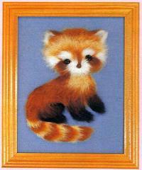 東京文化刺繍キット No.757 「レッサーパンダ」  【1号】 【額付き】 【毛立】 【動物】
