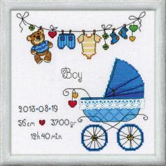 RIOLISクロスステッチ刺繍キット No.1418 「Its a Boy」 ロシアの刺しゅうメーカー「リオリス」製ししゅうキット お誕生祝いに