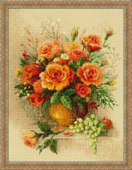 RIOLISクロスステッチ刺繍キット No.100/049 「Tea Roses」 (ティー・ローズ) 【海外取り寄せ/納期30〜60日】