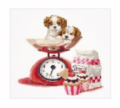 Thea Gouverneur クロスステッチ刺繍キット No.741 「Baking Puppy」(犬)  オランダ テア・グーヴェルヌール 【取り寄せ/納期40〜80日程
